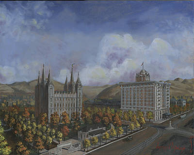 Salt Lake Temple Wall Art - Painting - Salt Lake City Temple Square Nineteen Twelve Right Panel by Jeff Brimley