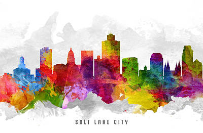 Lakes Digital Art - Salt Lake City Utah Cityscape 13 by Aged Pixel