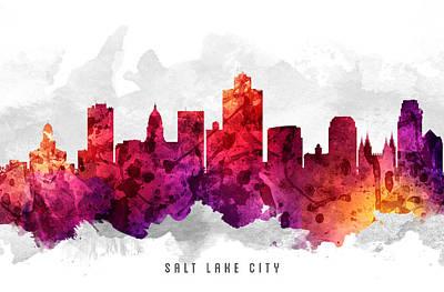 Salt Lake City Utah Cityscape 14 Art Print by Aged Pixel