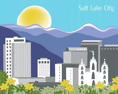 Framed Art Digital Art - Salt Lake City Utah Horizontal Skyline by Karen Young