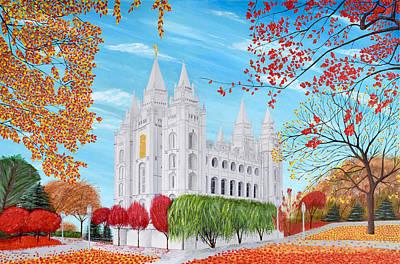 Salt Lake City Utah Mormon Temple Acrylic Painting Original