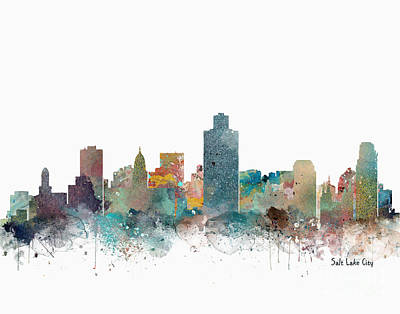 Painting - Salt Lake City Utah Skyline  by Bri B