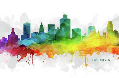 Salt Lake Skyline Mmr-usutsl05 Art Print by Aged Pixel