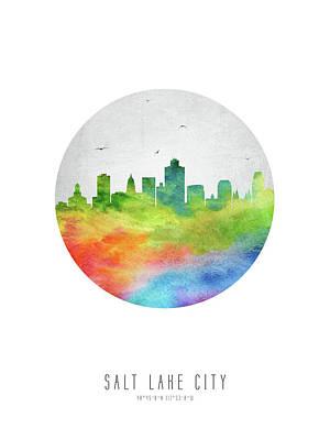 Salt Lake Skyline Usutsl20 Art Print by Aged Pixel
