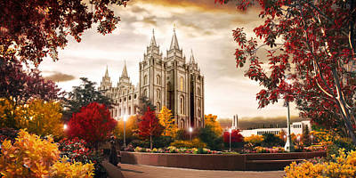 Temple Digital Art - Salt Lake Temple - Autumn by Brent Borup