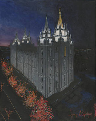 Salt Lake Temple Wall Art - Painting - Salt Lake Temple Christmas by Jeff Brimley