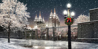 Salt Lake Temple Wall Art - Painting - Salt Lake Temple Christmas Lights by Brent Borup