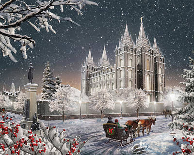 Lds Painting - Salt Lake Temple - Old Time Christmas by Brent Borup