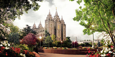 Lds Painting - Salt Lake Temple - Summer by Brent Borup