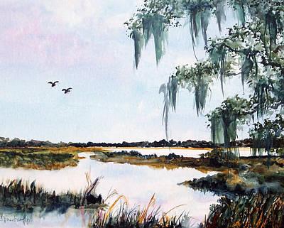 Salt Marsh With Live Oak Art Print by Carol Sprovtsoff