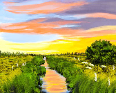 Digital Art - Salt Marshes At Dawn - Savannah Coast by Mark E Tisdale