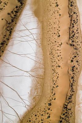 Salt Pans Deep In The Kalahari With 4x4 Art Print by Michael Fay