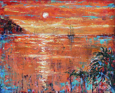 Painting - Salt Plage Sunset by Linda Olsen