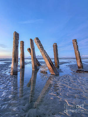 Photograph - Saltair Posts At Blue Hour by Spencer Baugh