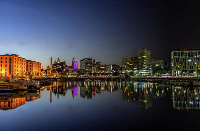 Albert Dock Photograph - Salthouse Dock From Sunset To Midnight by Paul Madden