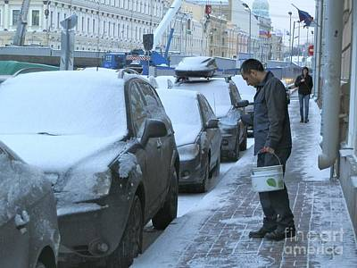 Russia Photograph - Salting The Pavement by Margaret Brooks