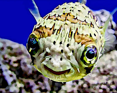 Puffer Fish Mixed Media - Saltwater Porcupinefish by Marvin Blaine