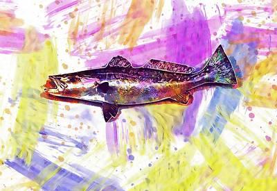 Digital Art - Saltwater Sea Trout Trout Fish  by PixBreak Art