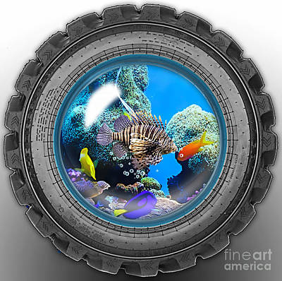 Fish Mixed Media - Saltwater Tire Aquarium by Marvin Blaine