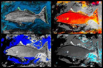 Wall Art - Painting - Salty Red Fish by Barry Knauff