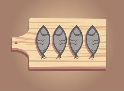 Salty Stock Fish On A Woden Board Art Print by Dragana  Gajic