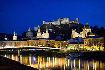 Photograph - Saltzburg Old City At Night by Shirley Mitchell
