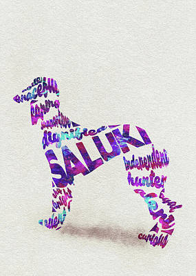 Painting - Saluki Dog Watercolor Painting / Typographic Art by Inspirowl Design