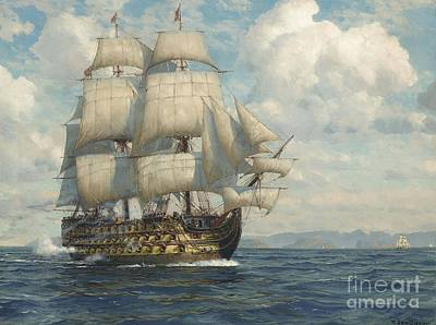 H.m.s Victory Painting - Salute As She Approaches by MotionAge Designs