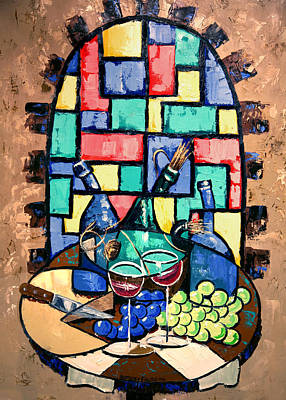 Table Wine Painting - Salute Happy Hour In Tuscany by Anthony Falbo