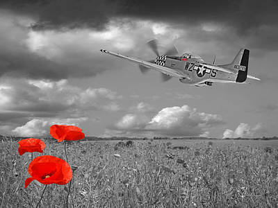Photograph - Salute To The Brave - P51 Flying Over Poppy Field 2 by Gill Billington