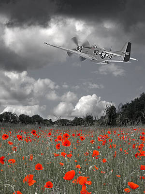 Photograph - Salute To The Brave - P51 Flying Over Poppy Field by Gill Billington