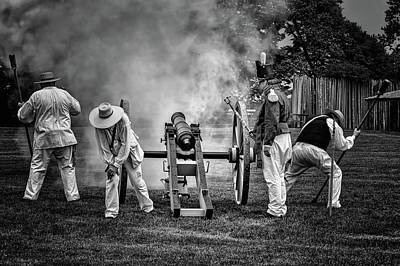Photograph - Salute To The States - Cannon - Black And White by Nikolyn McDonald