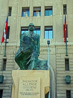 Salvador Allende Sculpture In Front Of The Hall Of Justice On Plaza De Constitucion In Santiago-ch Original by Ruth Hager
