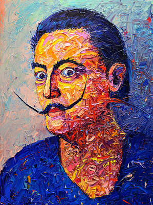 Salvador Dali Contemporary Impasto Palette Knife Oil Painting Portrait By Ana Maria Edulescu Print by Ana Maria Edulescu
