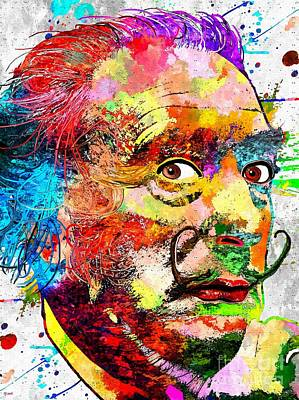Salvador Mixed Media - Salvador Dali Grunge by Daniel Janda