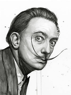 Salvador Dali Portrait Black And White Watercolor Original by Olga Shvartsur