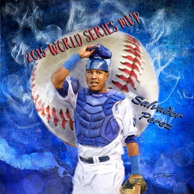 Sports Paintings - Salvador Perez 2015 World Series MVP by Colleen Taylor