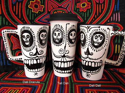 Limited Edition Mixed Media - Salvadore Dali Skull Travel Mug by PattyMara Gourley