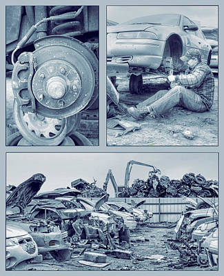 Photograph - Salvage Yard Triptych by Nikolyn McDonald