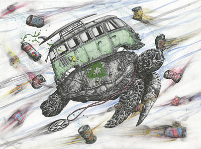 Ocean Turtle Mixed Media - Salvaged In The Sea Of Debris by Tai Taeoalii