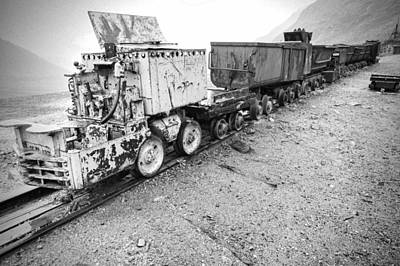 Independence Mine Photograph - Salvaged Mine Train Cars Bw by Phyllis Taylor