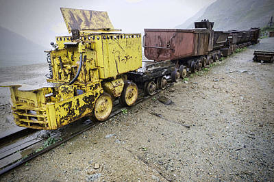 Independence Mine Photograph - Salvaged Mine Train Cars by Phyllis Taylor
