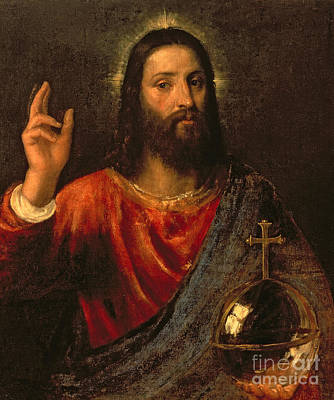 Golden Orb Painting - Salvator Mundi, Saviour Of The World by Titian