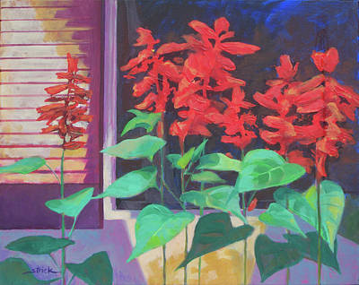 Salvia In The Windowbox Art Print by Carol Strickland
