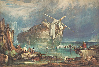 English Watercolor Painting - Salving From The Wreck by Samuel Prout