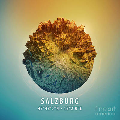Salzburg 3d Little Planet 360-degree Sphere Panorama Art Print