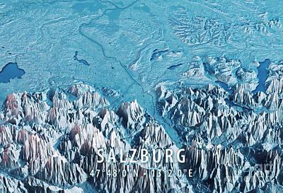 Salzburg 3d Render Satellite View Topographic Map Horizontal Blu Art Print by Frank Ramspott