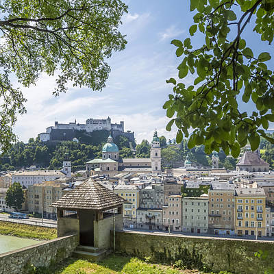 Salzburg Gorgeous Old Town With Citywall Print by Melanie Viola