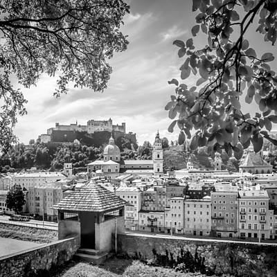 Salzburg Gorgeous Old Town With Citywall Monochrome Art Print