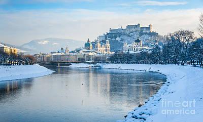 Architecture Photograph - Salzburg Skyline With Fortress Hohensalzburg In Winter, Salzburg by JR Photography